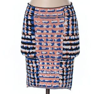BCBGMAXAZRIA Blue Printed Short Pencil Skirt XS